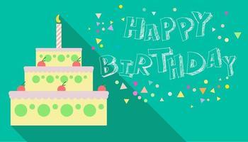 födelsedagstårta på grön bakgrund.