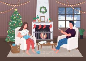 Weihnachtsabend am Feuer vektor