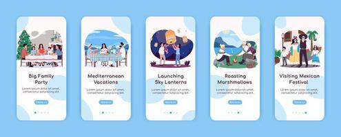 Qualität Familienzeit Onboarding mobile App-Bildschirme