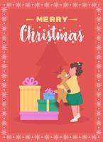 god jul till barn gratulationskort vektor