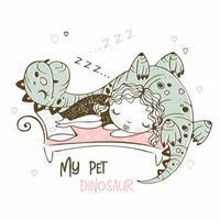 süßes Mädchen, das mit ihrem Haustierdinosaurier schläft vektor