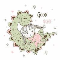 söt flicka sova med sin husdjur dinosaurie vektor