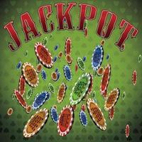 pokerchips många fallande grön bakgrundstextpott vektor