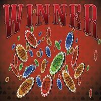pokerchips många fallande röda bakgrundstextvinnare vektor