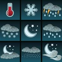 natt väder färg ikoner