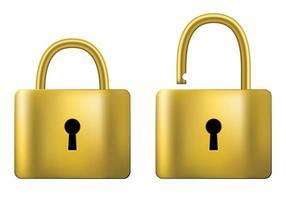 verschlossenes und entriegeltes Vorhängeschloss Gold isoliert