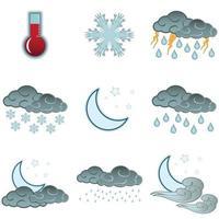 natt väder färg ikoner set isolerade