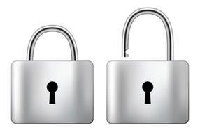 låst och olåst stålhänglås isolerat