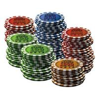 pokerchip många isolerade vit bakgrund vektor