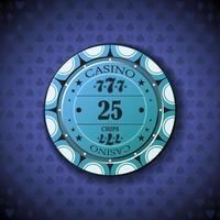 Pokerchip fünfundzwanzig, auf Kartensymbolhintergrund vektor