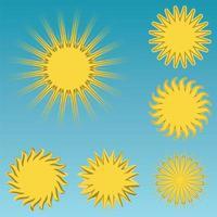 olika solikoner på blå himmelbakgrund vektor