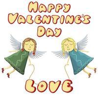 Valentinstag Feen fliegen mit Liebe isoliert vektor
