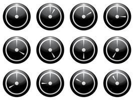 Uhrensymbol gesetzt weiß auf schwarz isoliert