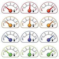 Kraftstoffzähler eingestellt lokalisiert auf weißem Hintergrund vektor