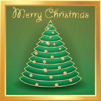 Weihnachtsbaum Gold mit Kugeln verziert vektor