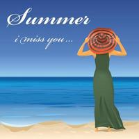 Frau, die am Strand mit Hut steht