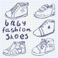 baby mode skor set skiss handritad vektor