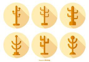 Kleiderständer Icons mit langem Schatten vektor