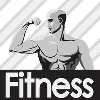 graues Bodybuilder des Fitness-Studio-Logo-Modells, das Bizeps zeigt
