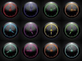 klocksymbolsuppsättningsfärg på svart bakgrund vektor