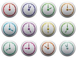 klocka symboluppsättning färg på grå isolerade