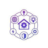 smarta hus ikoner på vitt vektor
