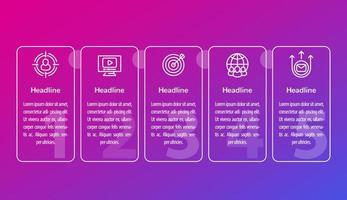 Infografiken für digitales Marketing mit Liniensymbolen vektor