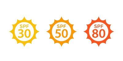 spf 30, 50, 80, sun, uv skydd ikoner vektor