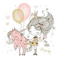 eine kleine süße Prinzessin mit einem Einhorn und Luftballons. vektor