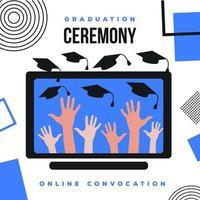 Online-Abschlussfeier Social Media Post Design vektor