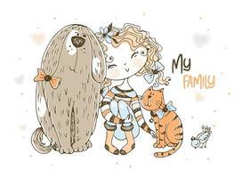 süßes Mädchen mit einer Katze, einem Hund und einem Vogel vektor
