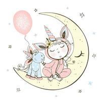 Baby im Schlafanzug sitzt auf Mond mit Einhornspielzeug