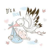 Ein Storch trägt einen kleinen Jungen. Geburtstagskarte
