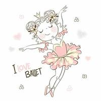 söt liten ballerinaflicka som dansar i rosa tutu vektor
