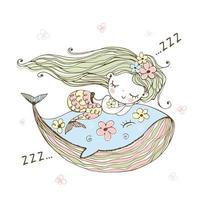 süße kleine Meerjungfrau, die auf einem Wal schläft.