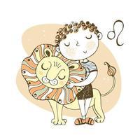 Sternzeichen Leo. süßer Junge mit Löwe
