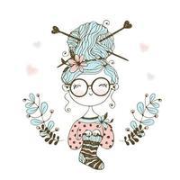 Eine süße kleine Nadelfrau strickte eine Socke.