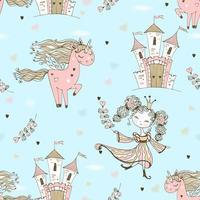 sömlösa mönster på temat för fairyland. vektor