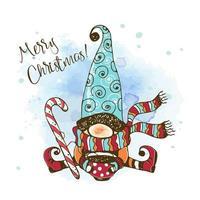 Weihnachtskarte mit einem niedlichen nordischen Gnom