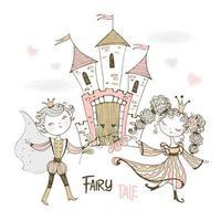 ein Prinz und eine Prinzessin in einem Märchenschloss.