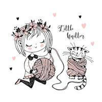 kleines süßes Mädchen wickelt Garn in Kugel
