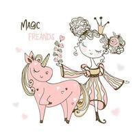söt liten prinsessa och rosa enhörning.