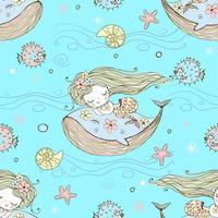 süße kleine Meerjungfrau, die auf einem Wal schläft. vektor