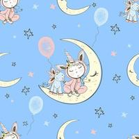 nahtloses Muster mit einem niedlichen Baby im Pyjama vektor