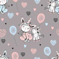 sömlösa mönster med en söt baby i pyjamas vektor