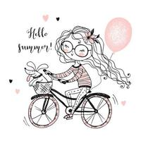 Ein Mädchen mit ihrem Haustier fährt Fahrrad