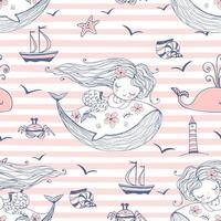 sömlösa mönster med söta sjöjungfrur som sover på valar