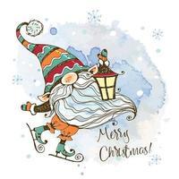 julkort med en söt nordisk gnome vektor