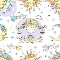 Sonnenmond Waage Kinder Spaß Muster. vektor