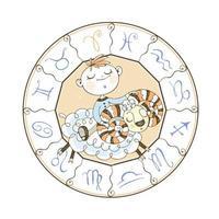Väduren stjärntecken av en pojke och en ram vektor